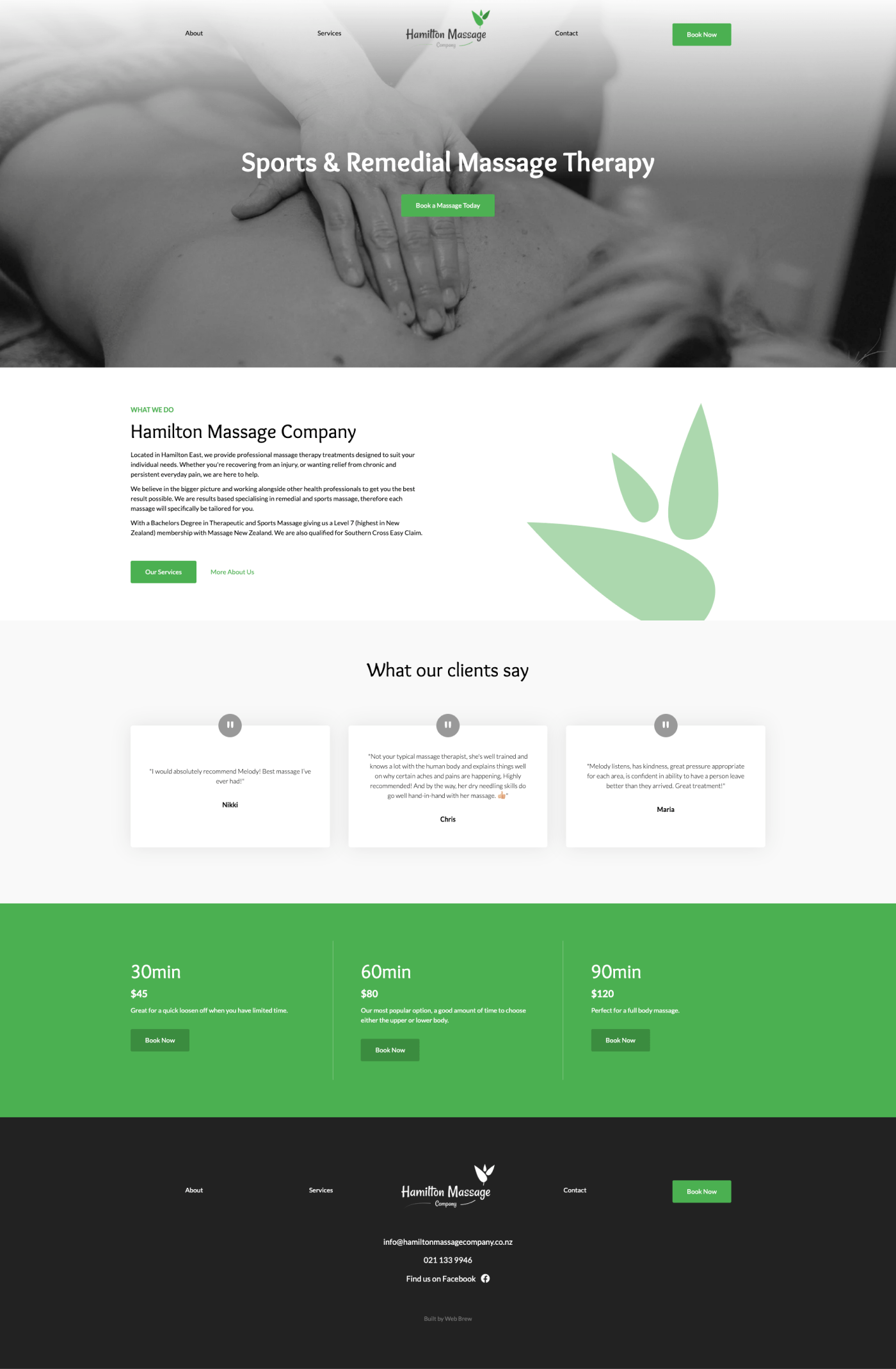 Full desktop screenshot of the Hamilton Massage Company website
