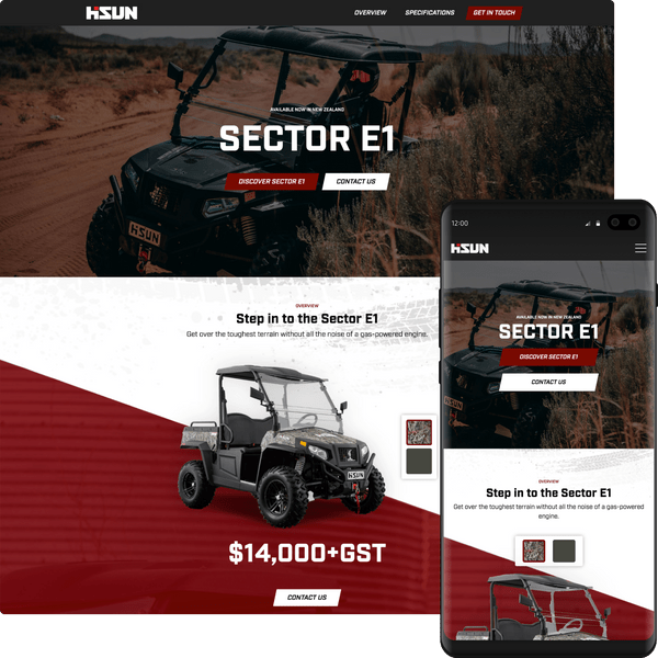 Preview of the Hisun Motors NZ website on desktop and mobile