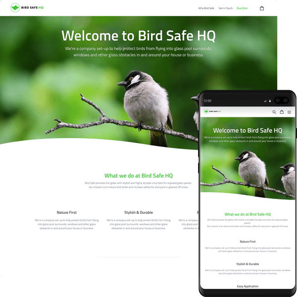 Preview of the Bird Safe HQ website on desktop and mobile